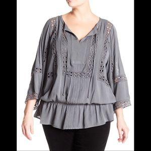 daniel rainn crochet trim peasant blouse